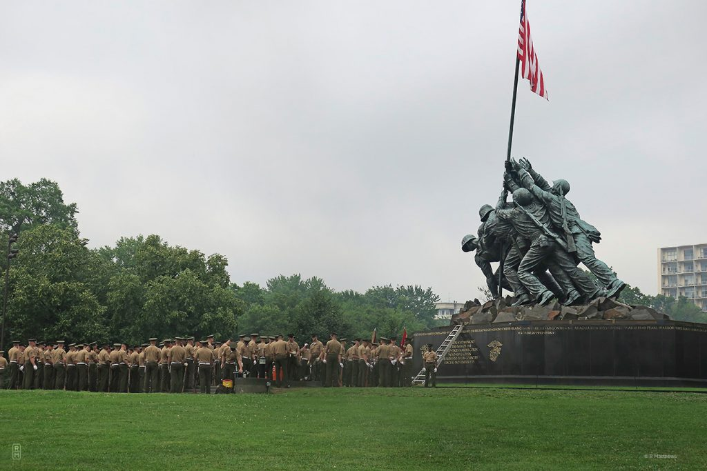 Marine Corp Color Guard at the base of Iwo Jima Statue